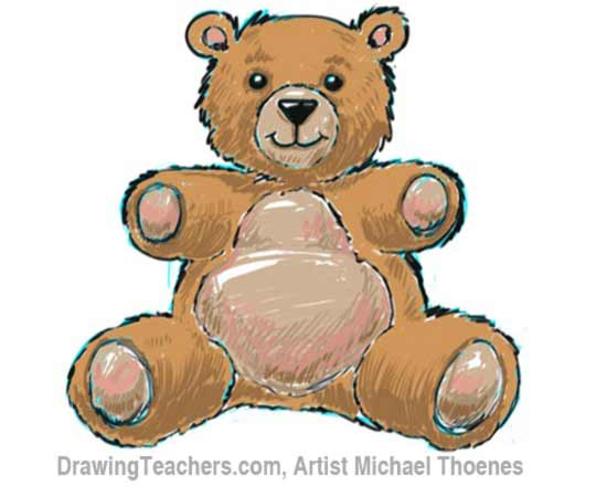 How to Draw a Teddy Bear Step 11