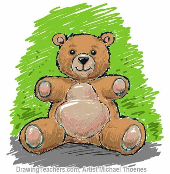 How to Draw a Teddy Bear Step 12