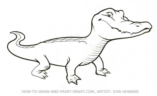 How to draw alligators for Easy to draw crocodile