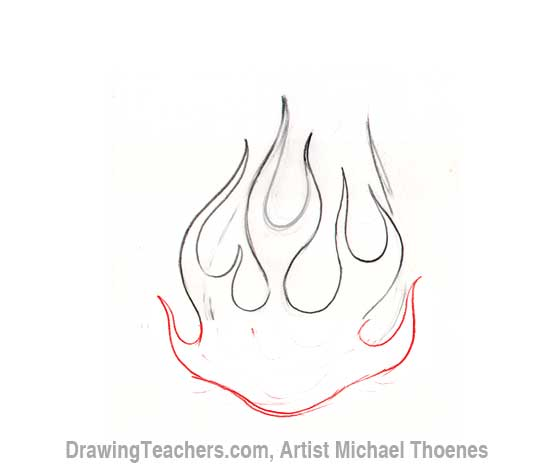 How to Draw a heart-with-Flames Step 5
