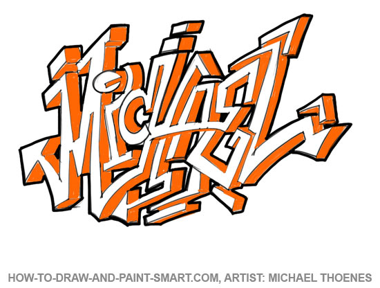 How to draw graffiti letters face step 4