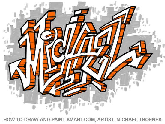 How to Draw Graffiti Letters Face Step 2
