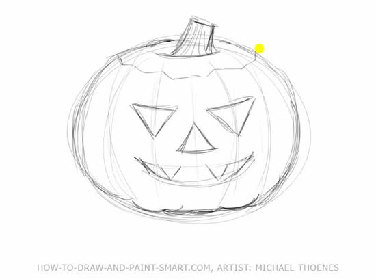 How to Draw Halloween Pumpkins Step 3