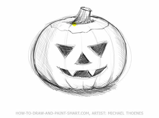 How to Draw Halloween Pumpkins Step 5