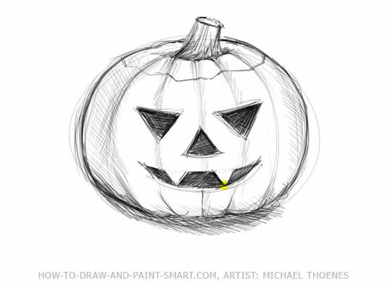 How to Draw Halloween Pumpkins Step 6