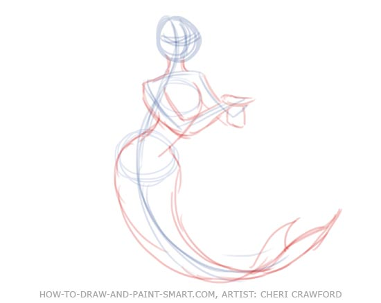 how to draw a fish tails