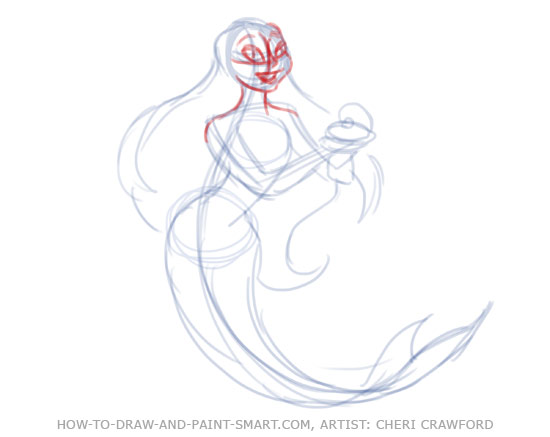 How to Draw Mermaids Drawing 6