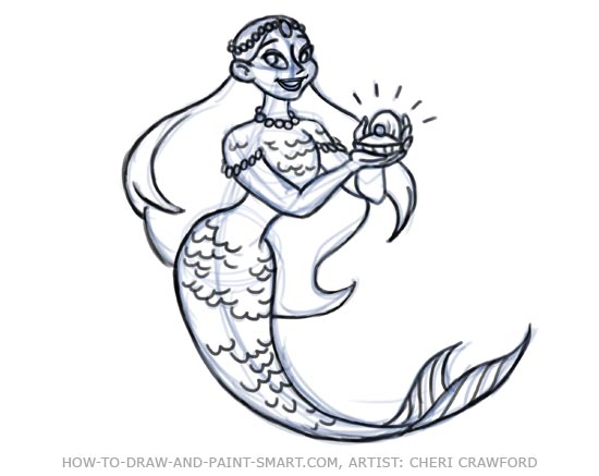 How to Draw Mermaids Drawing 8