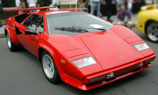 Red Lamborghini Countach LP500S three Quarter Front View
