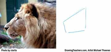 Lion Drawing Step 1 - How to Draw a Lion