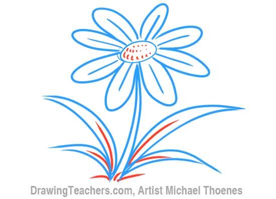 How to Draw a Cartoon Flower 7