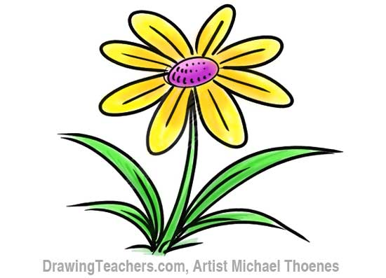 How to Draw a Cartoon Flower 11