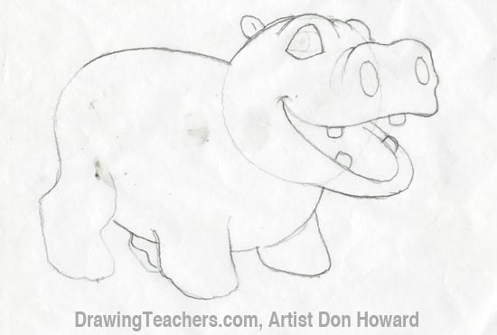 how to draw a hippo in water