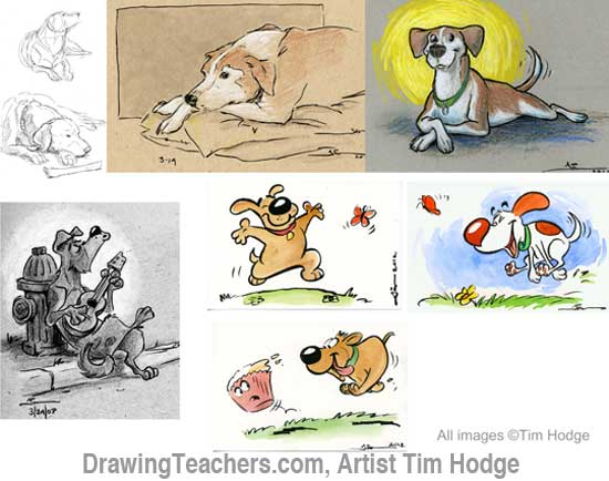dog sketches by Tim Hodge
