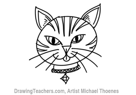 Line Drawing Of A Cat Face : How to draw a cartoon cat face