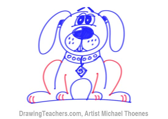 How to Draw a Cartoon Dog Sitting Down
