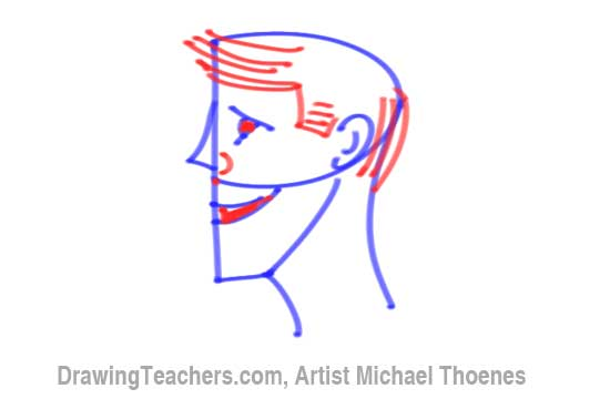 How to Draw a Cartoon Face Profile Step 7