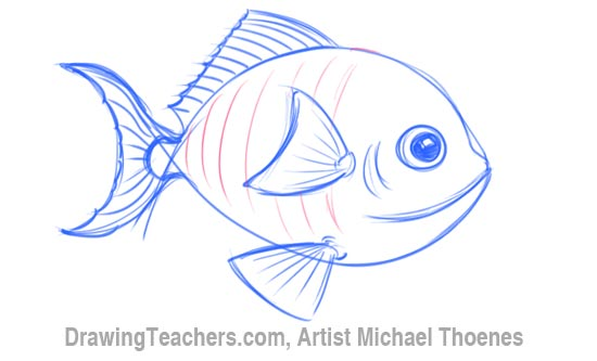 How to Draw a Cartoon Fish 5