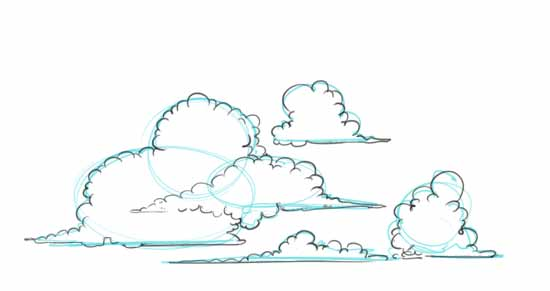 How to Draw Clouds Step 2