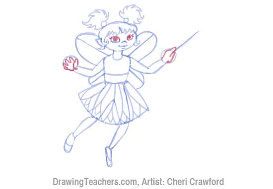 How to Draw a fairy Face Step 9