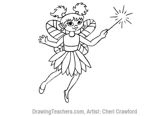 How to Draw a fairy Face Step 11