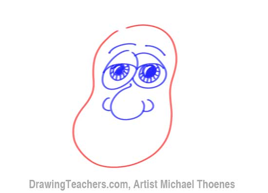 How to Draw a Funny Face man Step 9
