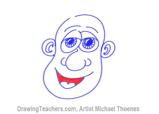 How to Draw a Funny Face man Step 13