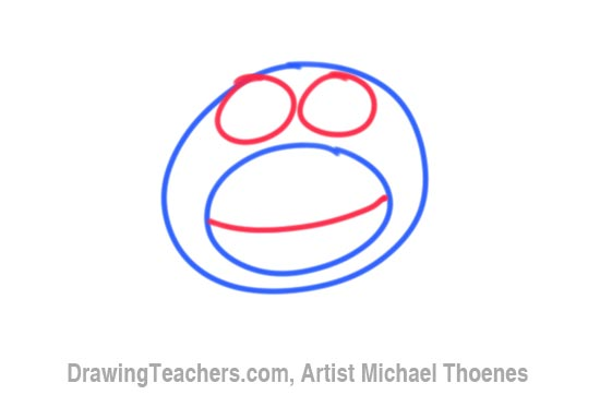 How to Draw a Funny Monkey Face Step 2