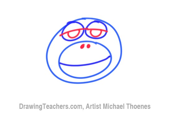 How to Draw a Funny Monkey Face Step 3