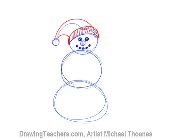 How to Draw a snowman Step 3
