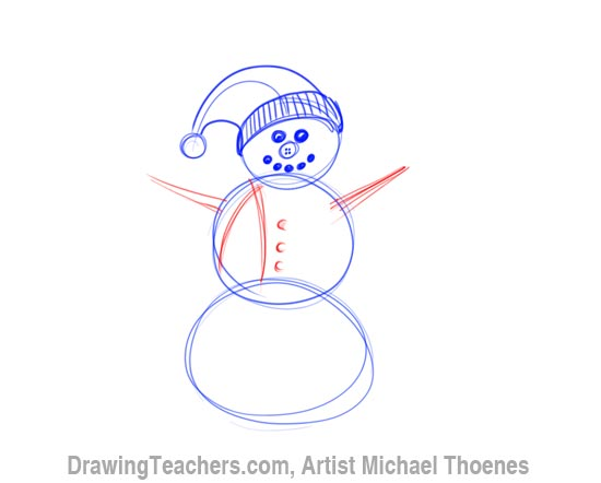 How to Draw a snowman Step 4