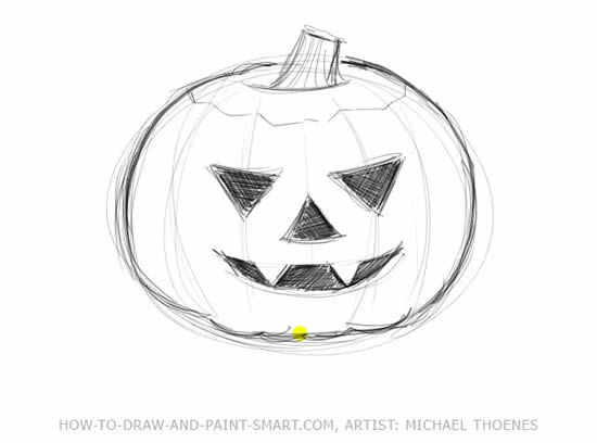 How to Draw Halloween Pumpkins Step 4