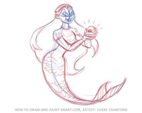 How to Draw Mermaids Drawing 7