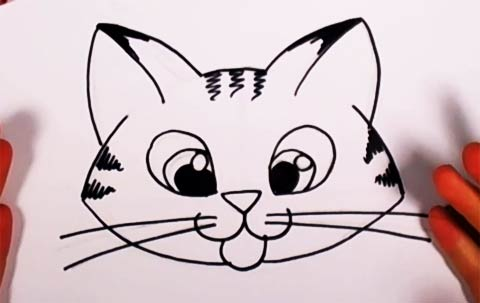 Cute Kitten Drawing Lesson Easy Cat For Kids To Draw Step By Step