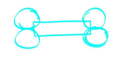 How to draw a dog bone step 2