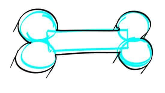 How to draw a dog bone step 4