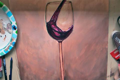 Wine Glass Painting - Adding Highlights