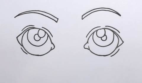 step by step how to draw cartoon eyes
