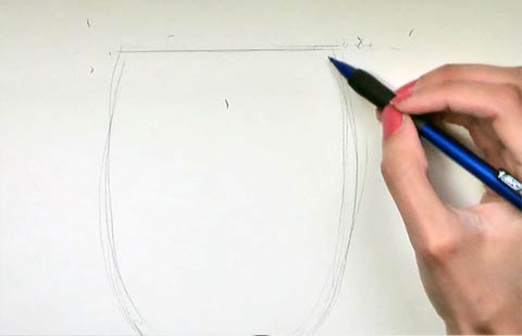 Paint a Wine Glass - Draw the top of the glass