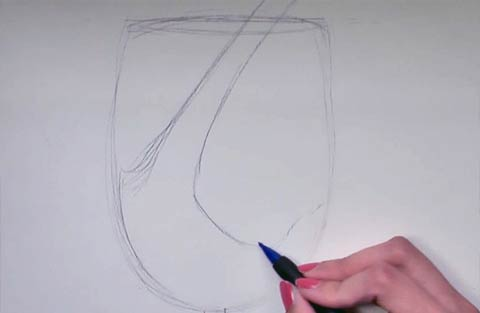 Paint a Wine Glass - Draw the wine